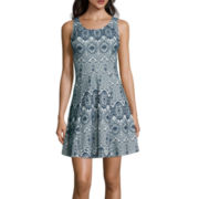 My Michelle® Sleeveless Bonded Lace Skater Dress- Juniors