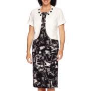 Maya Brooke Short-Sleeve Embellished Jacket Dress