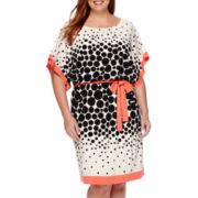 Studio™ One Elbow-Sleeve Dot Blouson Dress - Plus