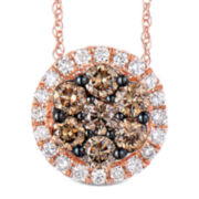 1 CT. T.W. White and Color-Enhanced Champagne Diamond Pendant Necklace