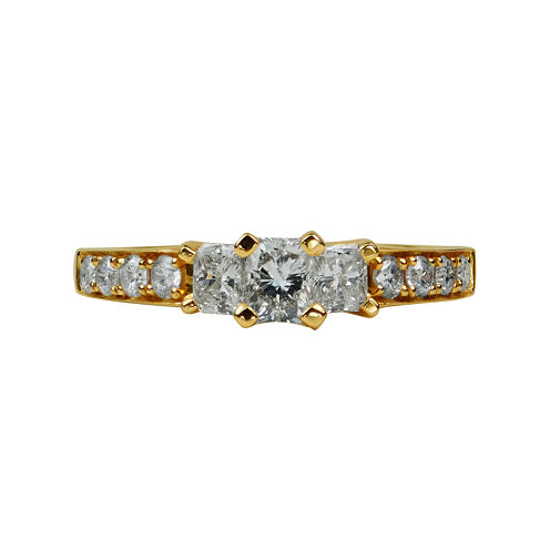 LIMITED QUANTITIES 1 1/2 CT. T.W. Diamond 14K Yellow Gold 3-Stone Ring