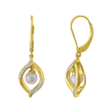 jcpenney.com | Cultured Freshwater Pearl 14K Yellow Gold Over Sterling Silver Earrings