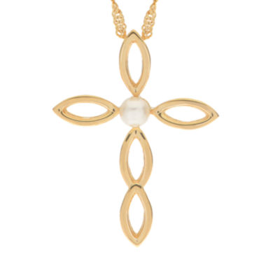 jcpenney.com | Cultured Freshwater Pearl 14K Gold Over Silver Cross Pendant