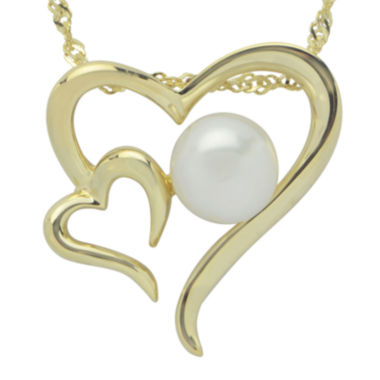 jcpenney.com | Cultured Freshwater Pearl 14K Gold Over Silver Heart Pendant