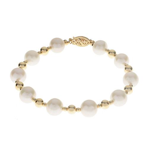 Cultured Freshwater Pearl 14K Gold Over Silver Bracelet