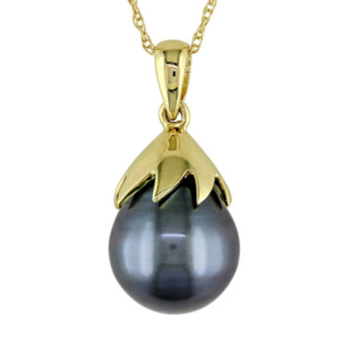 jcpenney.com | Black Tahitian Pearl 10K Yellow Gold Pendant Necklace