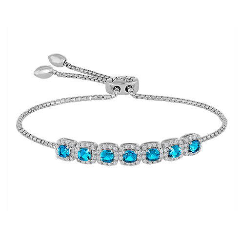 Rhythm And Muse Sterling Silver Genuine Blue Topaz & Lab Created White Sapphire Bracelet