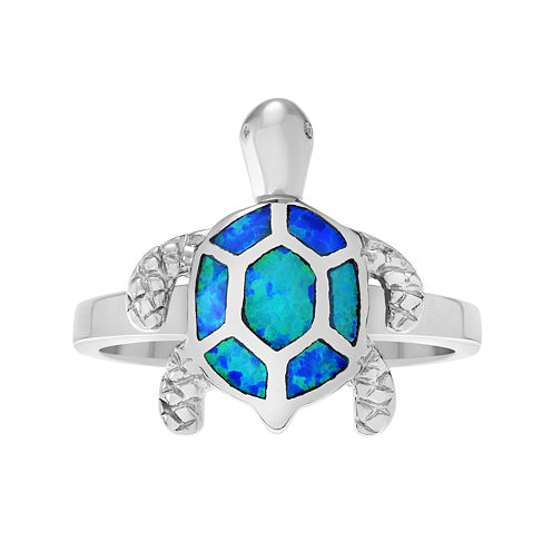Genuine Blue Opal Sterling Silver Turtle Ring
