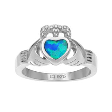 jcpenney.com | Genuine Blue Opal Sterling Silver Heart Claddagh Ring