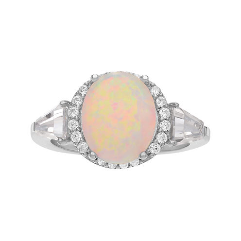 Simulated White Opal & Cubic Zirconia Sterling Silver Ring