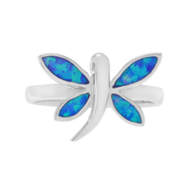jcpenney.com | Simulated Blue Opal Sterling Silver Dragonfly Ring