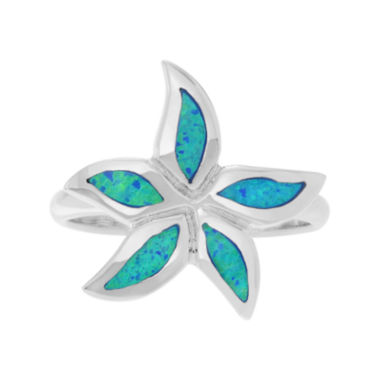 jcpenney.com | Simulated Blue Opal Sterling Silver Flower Ring