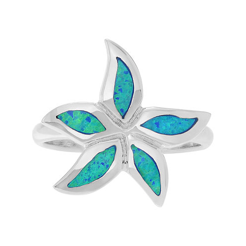 Simulated Blue Opal Sterling Silver Flower Ring