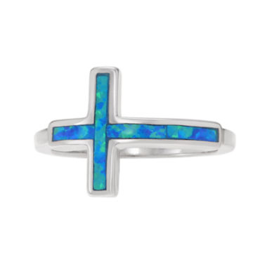 jcpenney.com | Simulated Blue Opal Sterling Silver Cross Ring
