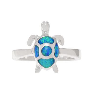jcpenney.com | Genuine and Simulated Blue Opal Sterling Silver Turtle Ring