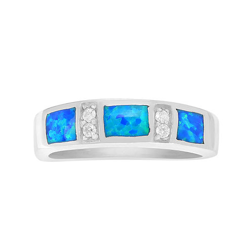 Genuine Blue Opal & Cubic Zirconia Sterling Silver Ring