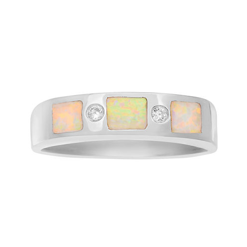 Genuine White Opal & Cubic Zirconia Sterling Silver Ring