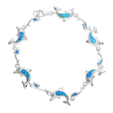 jcpenney.com | Journee Collection Lab-Created Opal Sterling Silver Dolphin Link Bracelet