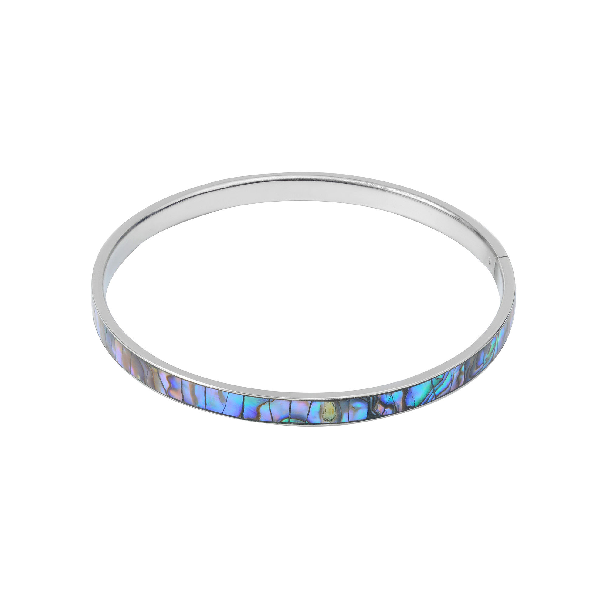Simulated Abalone Sterling Silver Bangle Bracelet