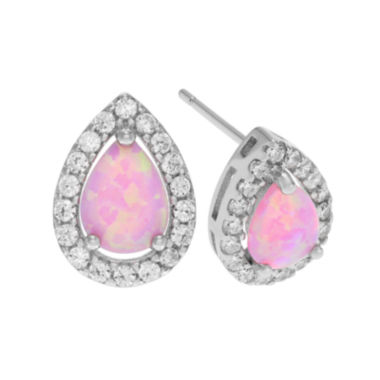 jcpenney.com | Simulated Pink Opal Cubic Zirconia Sterling Silver Stud Earrings