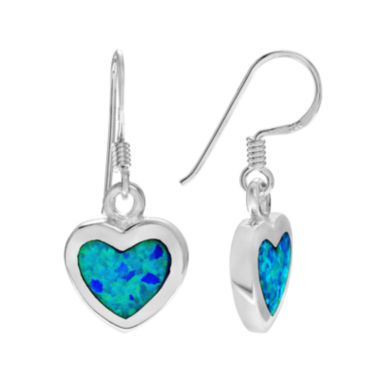 jcpenney.com | Simulated Blue Opal Sterling Silver Dangle Earrings