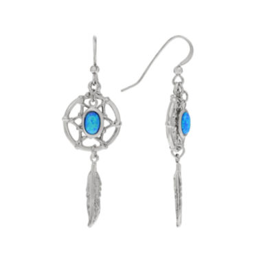jcpenney.com | Lab-Created Opal Sterling Silver Dream Catcher Dangle Earrings