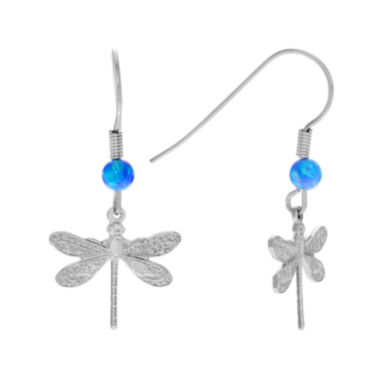 jcpenney.com | Simulated Blue Opal Sterling Silver Dragonfly Dangle Earrings
