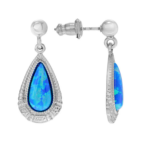Simulated Blue Opal Sterling Silver Teardrop Dangle Earrings