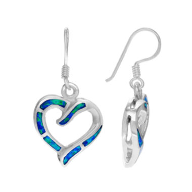 jcpenney.com | Lab-Created Opal Sterling Silver Heart Earrings