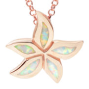 Journee Collection Simulated White Opal Sterling Silver Flower Pendant Necklace