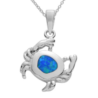 jcpenney.com | Genuine Blue Opal Sterling Silver Crab Pendant Necklace