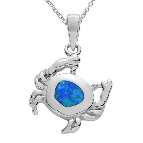 Genuine Blue Opal Sterling Silver Crab Pendant Necklace