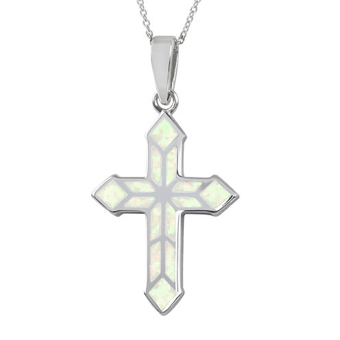 Simulated White Opal Sterling Silver Cross Pendant Necklace