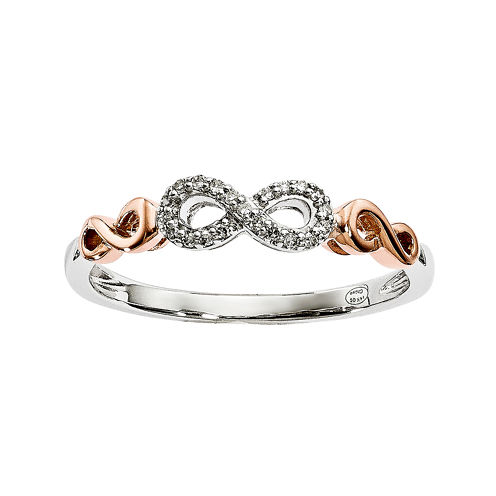 Diamond Accent 14K White and Rose Gold Infinity Symbol Ring