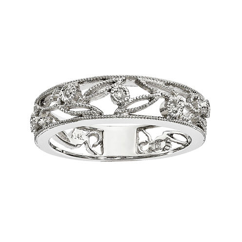 Diamond Accent 14K White Gold Flower Ring