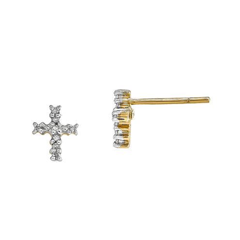 Diamond Accent 14K White Gold Cross Earrings