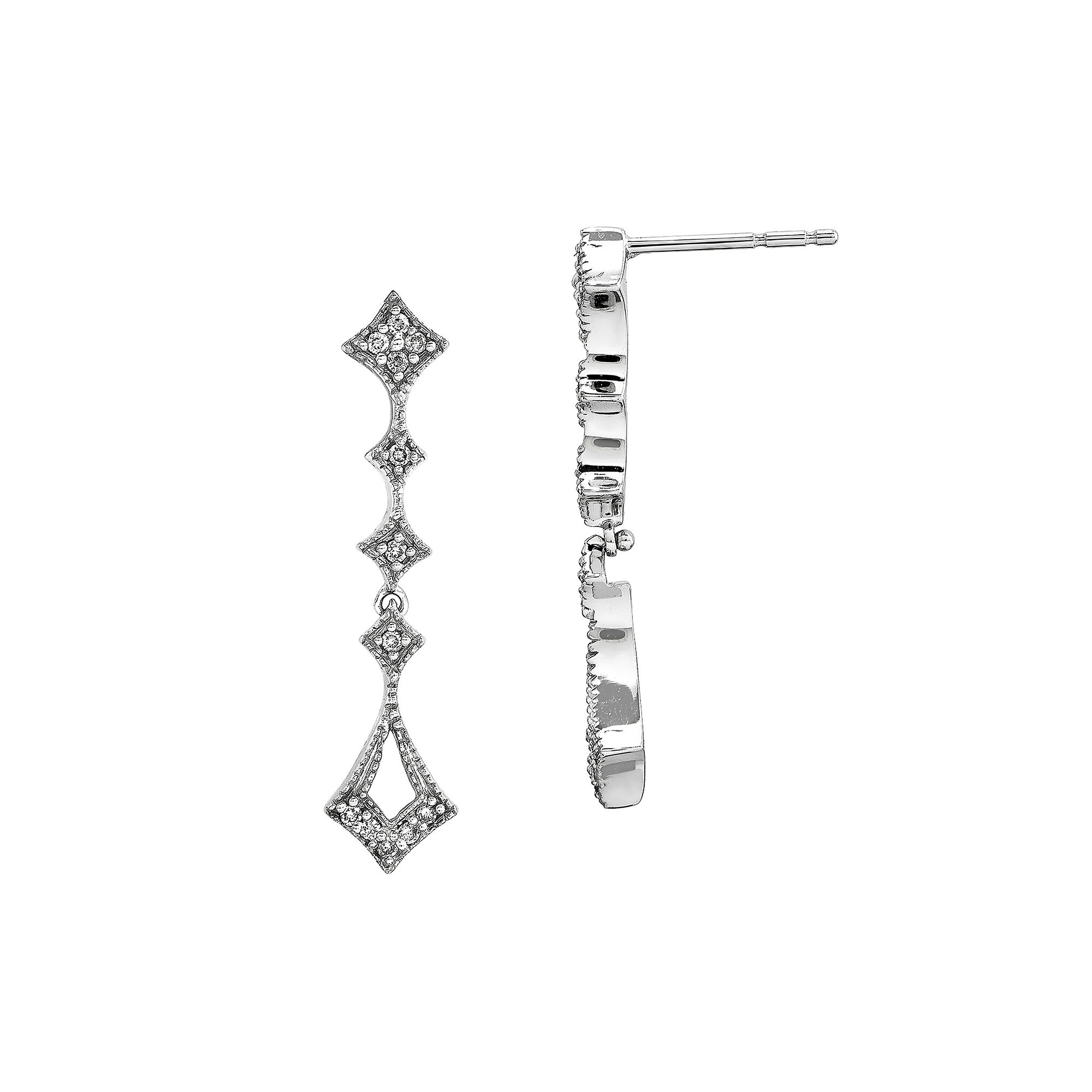 1/10 CT. T.W. Diamond 14K White Gold Vintage Dangle Earrings plus size,  plus size fashion plus size appare