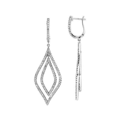 1 1/10 CT. T.W. Diamond 14K White Gold Teardrop Earrings