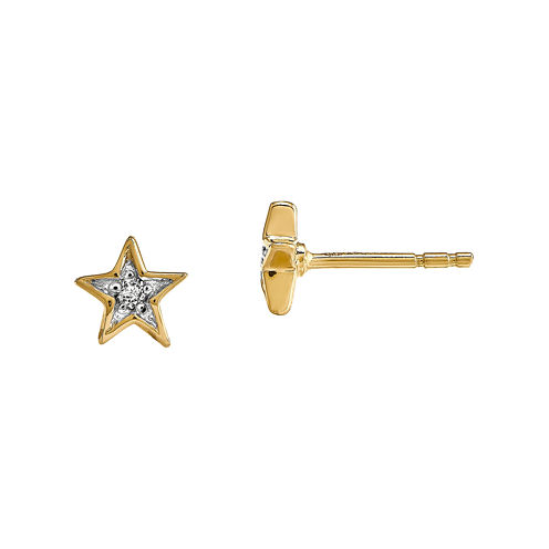 Diamond Accent 14K Yellow Gold Star Earrings