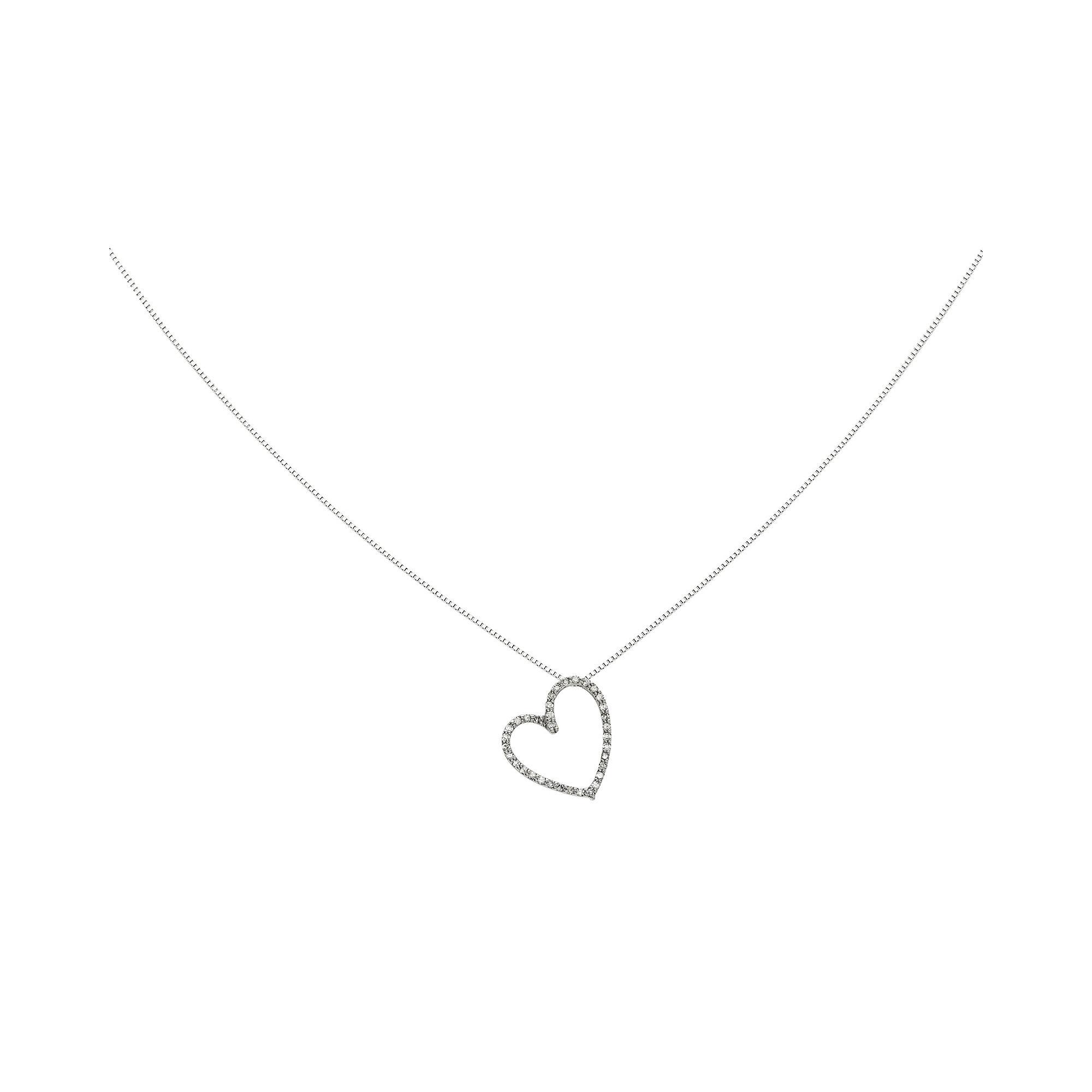 1/10 CT. T.W. Diamond 14K White Gold Vintage Heart Pendant Necklace plus size,  plus size fashion plus size appare