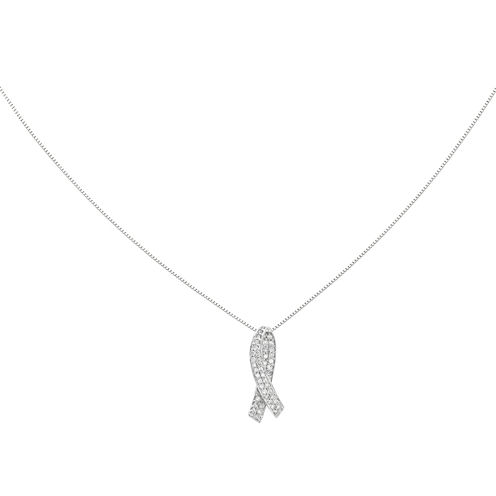 1/3 CT. T.W. Diamond 14K White Gold Breast Cancer Awareness Pendant