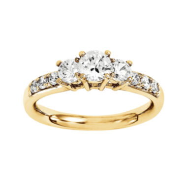jcpenney.com | 1 1/7 CT. T.W. Diamond 14K Yellow Gold 3-Stone Engagement Ring