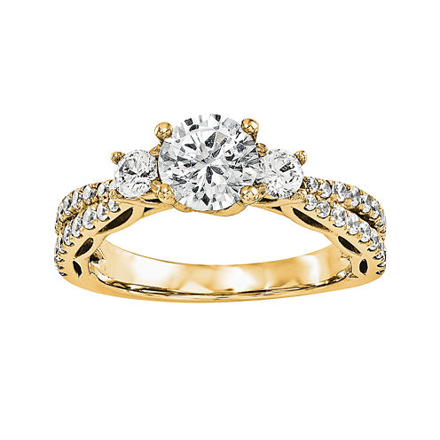1 3/4 CT. T.W. Diamond 14K Yellow Gold 3-Stone Engagement Ring