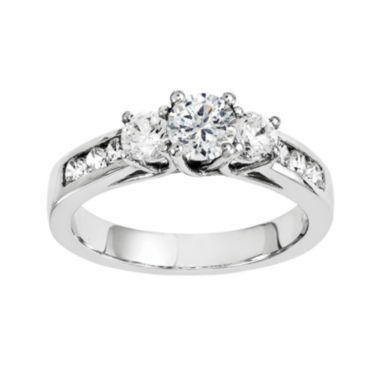 jcpenney.com | 5/8 CT. T.W. Diamond 14K White Gold  Channel Set 3-Stone Engagement Ring