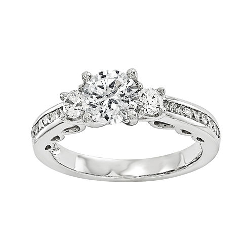 7/8 CT. T.W. Diamond 14K White Gold 3-Stone Engagement Ring