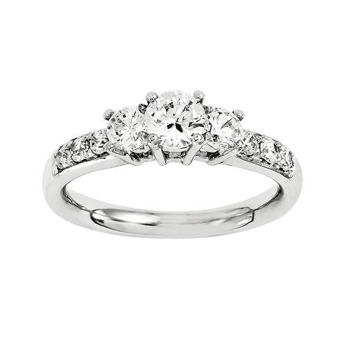 1 1/7 CT. T.W. Diamond 14K White Gold 3-Stone Engagement Ring