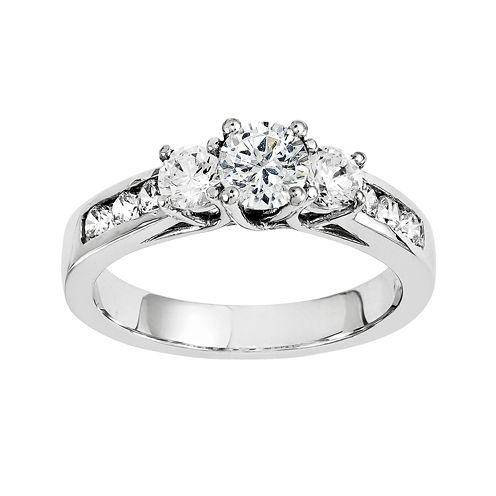 1 1/3 CT. T.W. Diamond 14K White Gold 3-Stone Engagement Ring