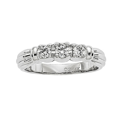 1/3 CT. T.W. Diamond 14K White Gold 3-Stone Ring