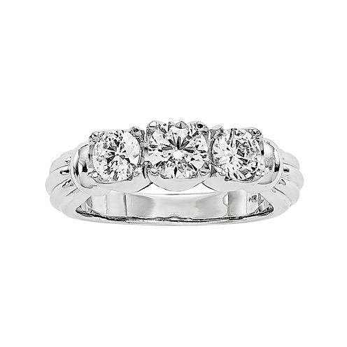 1 1/4 CT. T.W. Diamond 14K White Gold 3-Stone Ring