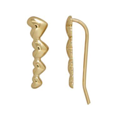 jcpenney.com | 10K Gold Graduated Heart Climber Earrings